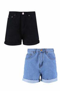 Womens High Waist 2 Pack Denim Shorts - Multi - 14, Multi