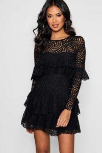 Womens Boutique Lace Ruffle Skater Dress - black - 14, Black
