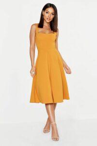 Womens Square Neck Midi Skater Dress - Yellow - 14, Yellow