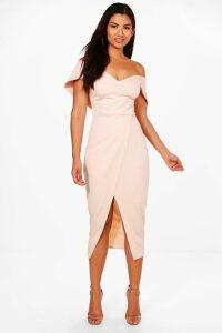 Womens Off Shoulder Wrap Skirt Midi Dress - Pink - 6, Pink