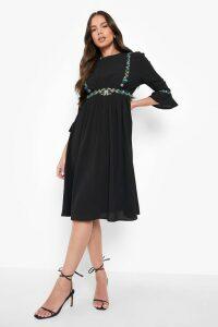 Womens Embroidered Ruffle Sleeve Midi Dress - Black - 12, Black