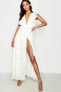 Womens Floral Frill Detail Wrap Maxi Dress - White - 14, White