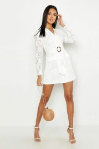 Womens Lace Belted Wrap Dress - white - 10, White