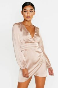 Womens Satin Wrap Detail Mini Dress - Beige - 14, Beige