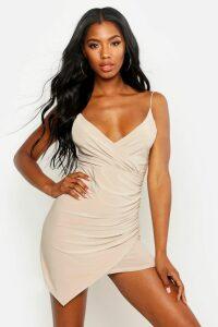 Womens Wrap Detail Bodycon Dress - Beige - 14, Beige