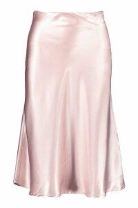 Womens Bias Satin Slip Midi Skirt - Beige - 14, Beige