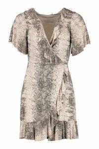 Womens Snake Wrap Ruffle Tea Dress - beige - 14, Beige