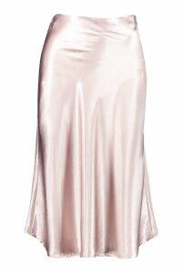 Womens Bias Satin Slip Midi Skirt - tan - 14, Tan