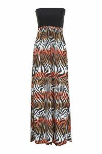 Womens Zebra Print Bandeau Maxi Dress - black - 8, Black