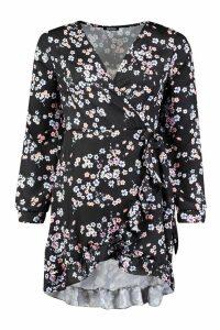 Womens Woven Wrap Ditsy Floral Tea Dress - black - 14, Black