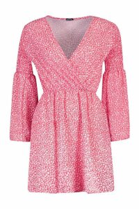 Womens Shirred Sleeve Wrap Front Skater Dress - 12, Red