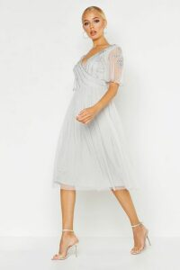 Womens Embellished V Neck Midi Skater Bridesmaid Dress - Grey - 14, Grey