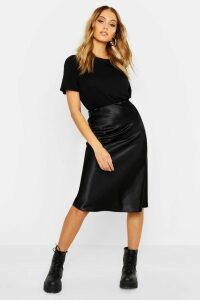 Womens Neon Luxe Satin Bias Cut Midi Skirt - Black - 12, Black