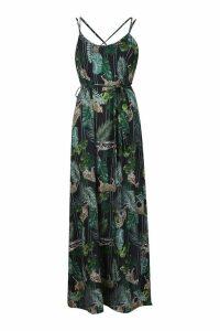 Womens Woven Palm Leopard Strappy Maxi Dress - black - 8, Black