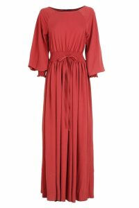 Womens Shirred Waist & Cuff Woven Maxi Dress - 16, Red