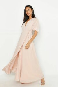 Womens Chiffon Angel Sleeve Wrap Maxi Bridesmaid Dress - Pink - 16, Pink