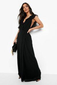 Womens Frill Wrap Detail Chiffon Maxi Bridesmaid Dress - Black - 10, Black
