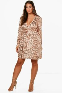 Womens Plus Two Tone Wrap Sequin Dress - Pink - 18, Pink