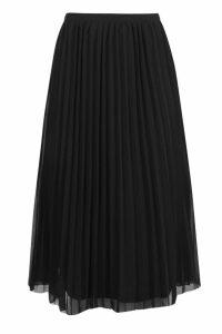 Womens Chiffon Pleated Midi Skirt - Black - 6, Black