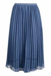 Womens Chiffon Pleated Midi Skirt - Blue - 14, Blue