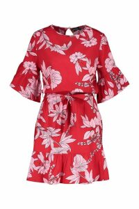 Womens Belted Frill Sleeve Skater Dress - red - 10, Red