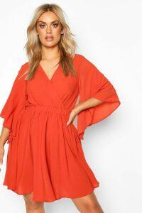 Womens Plus Kimono Sleeve Woven Skater Dress - Orange - 20, Orange