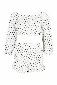 Womens Polka Dot Bardot Ruffle Top & Short Co-Ord Set - White - 14, White