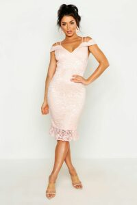 Womens Lace Cold Shoulder Ruffle Hem Midi Dress - Pink - 12, Pink