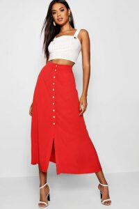Womens Mock Horn Button Through Midi Skirt - red - 16, Red