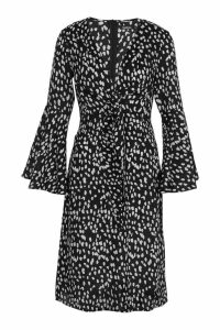 Womens Knot Front Cheetah Print Midi Dress - black - 8, Black