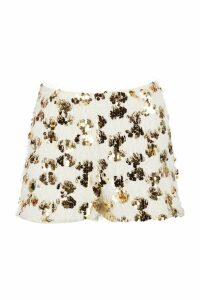 Womens Tassel Disc Sequin Shorts - Metallics - 10, Metallics