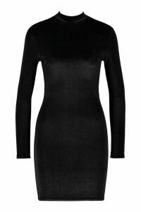 Womens Velvet High Neck Bodycon Dress - black - 14, Black