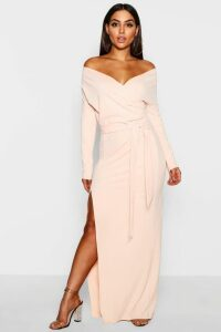 Womens Off The Shoulder Split Maxi Bridesmaid Dress - Beige - 10, Beige