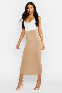 Womens Basic Jersey Midaxi Skirt - Beige - 8, Beige