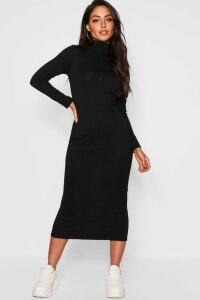 Womens Jumbo Rib Roll Neck Midi Dress - Black - 16, Black
