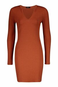 Womens Jumbo Rib Notch Neck Long Sleeve Mini Dress - Brown - 8, Brown