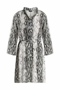 Womens Snake Print Tie Waist Shirt Dress - grey - 10, Grey