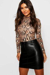 Womens Leather Look Mini Skirt - black - 16, Black