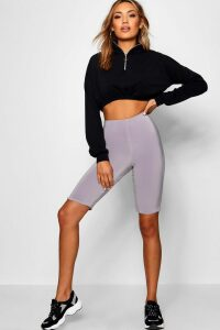Womens Double Layer High Waist Cycling Shorts - grey - 6, Grey