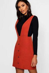 Womens Plunge Front Button Pinafore Dress - orange - 10, Orange