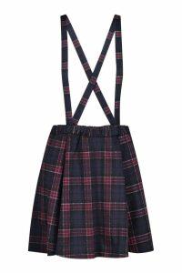 Womens Tartan Check Pinafore Skirt - Navy - 14, Navy