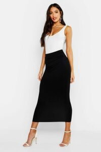 Womens Basic Jersey Midaxi Skirt - black - 16, Black