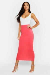 Womens Basic Jersey Midaxi Skirt - orange - 8, Orange