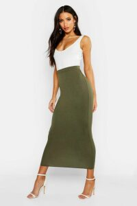 Womens Basic Jersey Midaxi Skirt - green - 6, Green