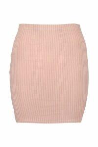 Womens Basic Jumbo Rib Mini Skirt - Beige - 14, Beige