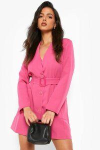 Womens Belted Pocket Detail Blazer Dress - Pink - 14, Pink