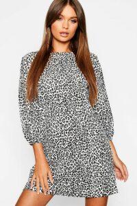 Womens Balloon Sleeve Leopard Print Shift Dress - black - 10, Black