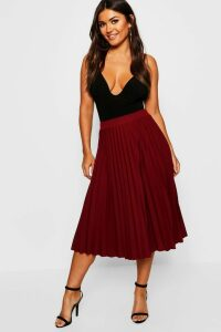 Womens Pleated Midi Skirt - Red - S, Red