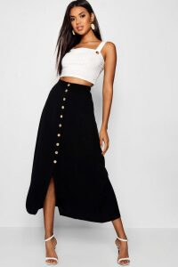 Womens Mock Horn Button Through Midi Skirt - Black - 16, Black