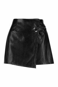Womens Wrap Front Detail Leather Look Mini Skirt - black - 14, Black